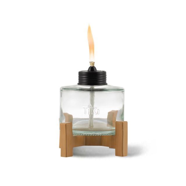 ELEVATED TABLE TORCH IN FAUX BAMBOO