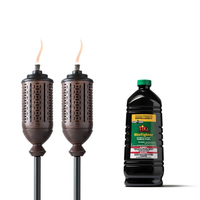CABOS METAL TORCHES - 2 PACK + 100-OUNCE BITEFIGHTER TORCH FUEL