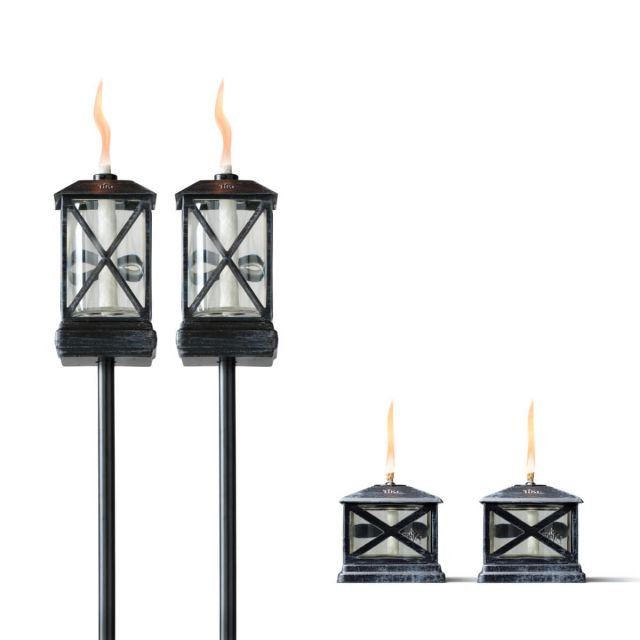 SQUARE BEACON TORCHES - 2 PACK + PETITE LANTERN TABLE TORCHES - 2 PACK