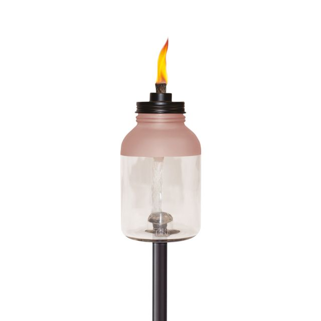 EASY INSTALL GLASS JAR TORCH IN PINK