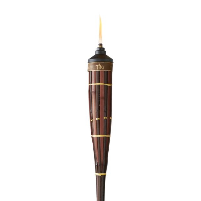 royal polynesian bamboo tiki torch up close white background