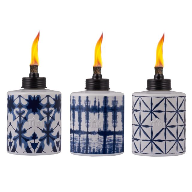 TIE DYE GLASS TABLE TORCHES - 3 PACK