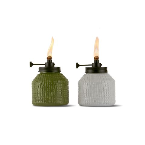 ADJUSTABLE FLAME CRISS CROSS TABLE TORCH IN GREEN OR WHITE