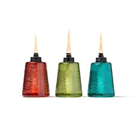 MOLDED GLASS TABLE TORCHES IN RED, GREEN AND BLUE - 3 PACK