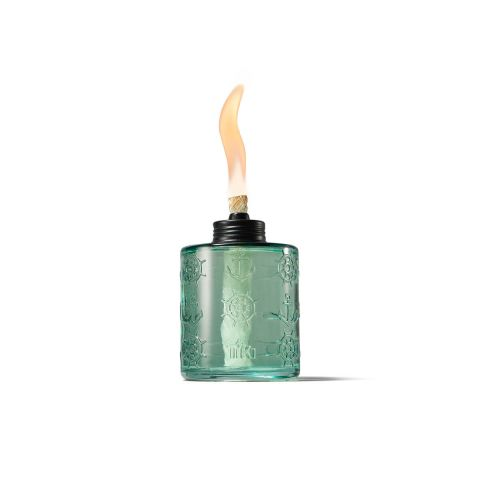PAINTED GLASS TABLE TORCHES IN SEA GREEN - 3 PACK