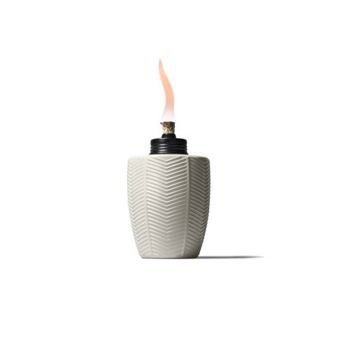 HERRINGBONE GLASS TABLE TORCHES IN IVORY - 3 PACK