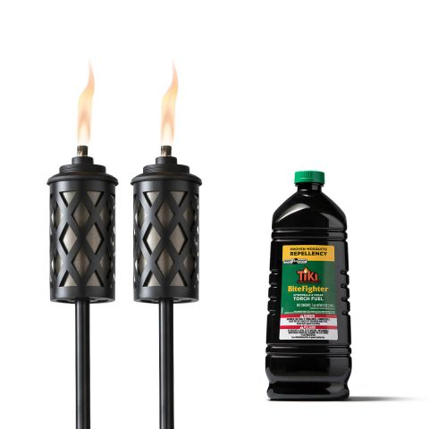 URBAN METAL TORCHES - 2 PACK + 100-OUNCE BITEFIGHTER TORCH FUEL
