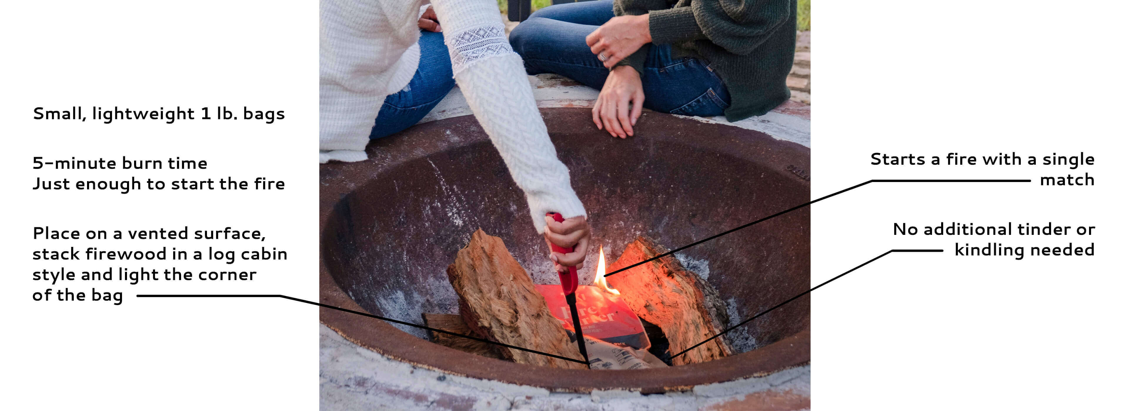 small lightweight bags, 5-minute burn time, no additional tinder or kindling needed, start fire bonfire campfire with a single match