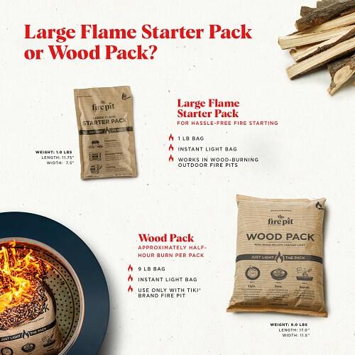 TIKI Brand Flame Starter vs Wood Pack