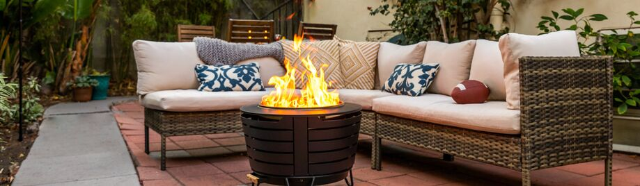 fire pit in backyard